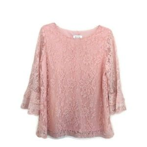 Elle lace lined blouse with bell sleeves L